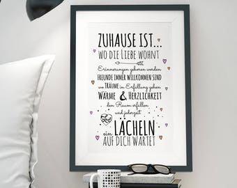 A3 Print Druck Poster House Rules Family P33
