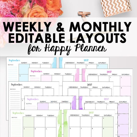 classic happy planner weekly template and monthly planner