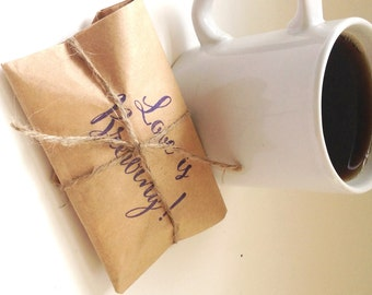 Ready to ship Bridal Shower favors. Rustic wedding favors. Freshly roasted coffee. Set of 50.