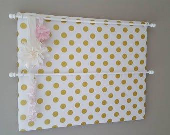 Headband Holder, Headband Organizer Gold Dot fabric, Baby Shower Gift, Nursery Decor, Girl Room Decor