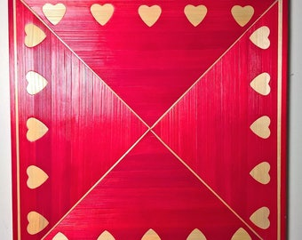 Bottom of dish red hearts gold