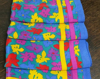 ALBERT NIPON Colourful silk scarf with floral print.