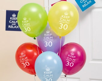 Keep Calm & Party On Balloons - 30th - Birthday balloons - 30th balloons - party suppliers