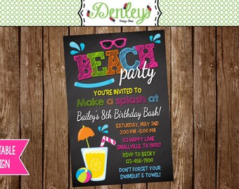 Beach Birthday Invitation (BE06)