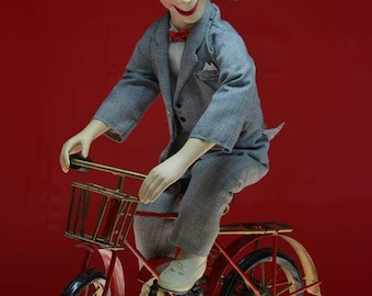 Pee Wee Herman Doll Fine Art Photograph, Greeting Card or Magnet, Toy Photography, Pee Wee Riding his bike, with or without quote