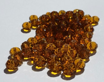 Glass Beads - 42 pcs - 8mm x 6mm - Dark Amber - Faceted Beads -  Rondelles -  Faceted Glass Beads