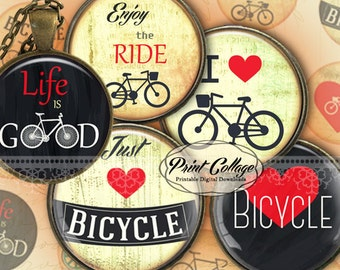 Bicycle motivational images Digital Printable Cabochon images 1.5 inch 1 inch 18 mm 14mm round images Printable images Instant download C197