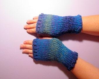 Fingerless Gloves - Blue, Green, Purple Mix Hand Knit Fingerless Gloves
