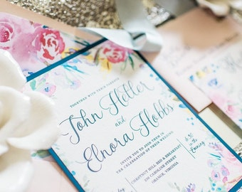 Watercolor Wedding Invitations - SAMPLE | Water color wedding invitations | Floral Wedding Invitation Sample