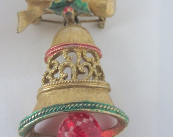 SALE Vintage Gerry's Dangle Christmas Holiday Bell and Bow Brooch