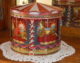 Vintage Carousel Tin with Music Box, Merry-Go-Round, Moving Carousel, Circus Horses,Carnival Music Box,Cookie Tin, Gift for Him,Gift for Her