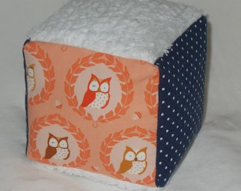 Peach Owlies Fabric and Dots Chenille Block Rattle