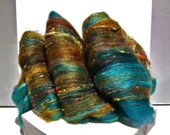 "Teal fiber art batt, RTS, wool, roving, ""Verdigris"" spinning, felting, Aqua, turquoise, rust, topaz, copper, sienna, teal"