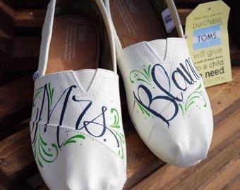 Custom Wedding Shoes, Wedding Shoes, Painted Shoes, Hand Lettered shoes, Wedding name shoes, Custom  TOMS