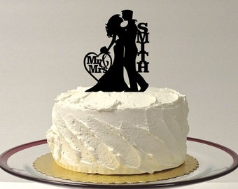 MADE In USA, Wedding Cake Topper Silhouette, Personalized Wedding Cake Topper, Bride and Groom Silhouette Cake Topper