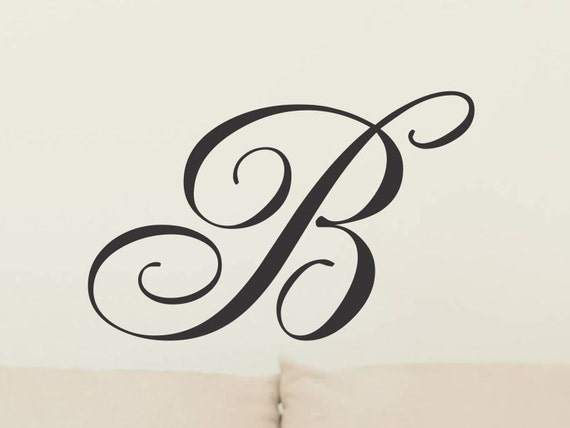 Captivating Single Letter Monogram Decal Initial Wall Sticker Vinyl