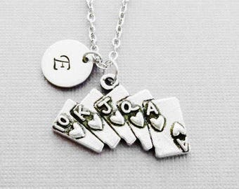 Poker Cards Necklace Royal Flush Ace of Cards BFF Gift Friend Birthday Gift Silver Jewelry Personalized Monogram Hand Stamped Letter Initial