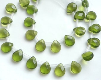 8pcs  Olive Green  faceted, glass  pear briolettes (11x9mm)