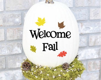 Welcome Fall / Autumn Pumpkin  Vinyl Decal Sticker