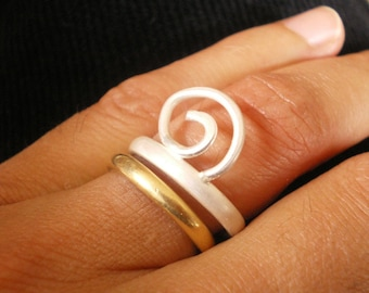 Curly Wirly Sterling Silver Ring - ready to ship