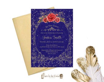Beauty and the Beast Bridal Shower Invitation Vintage Gold and Navy Blue with Red Roses Princess Fairytale Wedding Shower Invites