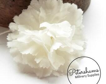 Vintage 1960's-80's Carnation Velvet Flower Millinery Mount - White
