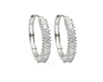 Fashion big circle crystal silver earrings