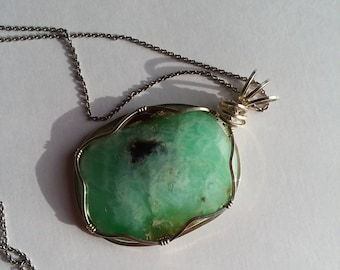 Green Chrysoprase stone pendant, Wrapped in Sterling Silver Wire