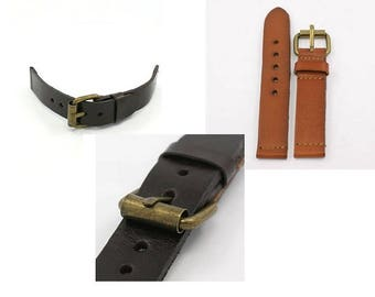 Bracelet, leather bracelet, leather, watch bracelet, dark brown, brown, buckle closure, buckle