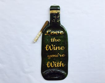 Love The Wine You're With Melted Wine Bottle Tray Spoon Rest
