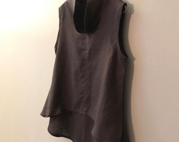 M linen top / grape purple linen wavy end top size M/  ready to wear / women clothing / handmade linen top / sleeveless linen top / asian