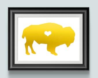 Water Buffalo Print, Gold Foil prints, Animal Art, Home Decor, NY, Bison, Team Buffalo