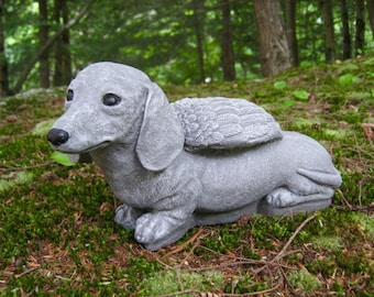Dachshund Angel Statue, Dachshund Memorial, Painted Doxie Angel Garden Statue, Concrete Garden Statue, Pet Dog Memorial, Dog Angel Home Deco