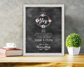 Engagement gift - Personalised Engagement Gifts - Watercolor Engagement Print - Gift for a couple - Personalized Engagement Gift - [Typo 02]
