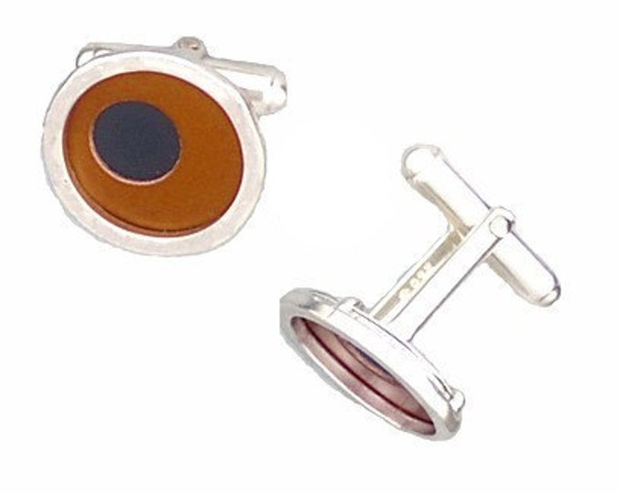 Two Tone Silver/recycled aluminum cufflinks brown and jet
