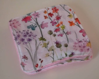 Pink fleece and romantic floral cotton wash cloth