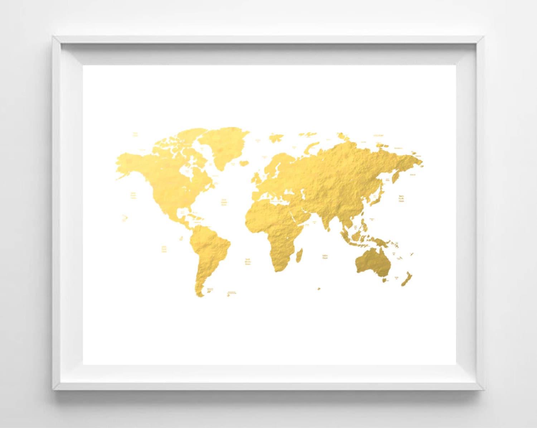 Printable world map print gold foil map print nursery art zoom gumiabroncs Images
