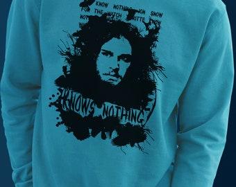 Knows Nothing - Sweater Vinyl Print Handmade - S M L