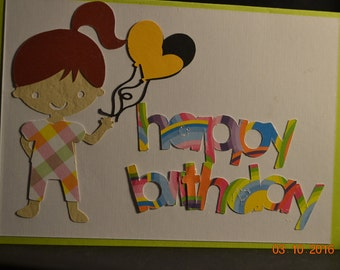 Happy Birthday with little girl and balloons on this one of a  kind homemade card.