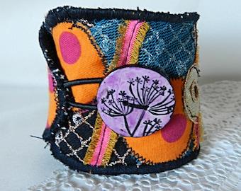 Cuff Bracelet adjustable, multicolored fabric