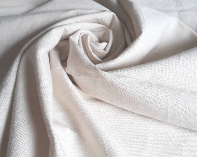 Fabric for quilting, patchwork quilting. White cream solid thick canvas. 100% cotton rustic. Made in Egypt. For lining
