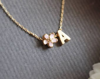 Personalized Cherry Blossom initial necklace, Sakura necklace, Name, Flower girl, Bridesmaid necklace, Wedding necklace, valentines day