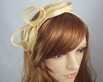 Gold Sinamay Loop & Leaf Fascinator with Feathers - Occasion Wedding Races