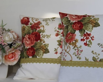 Floral  Shabby  Chic colorblock decorative pillow ,cotton pillow cover, any size