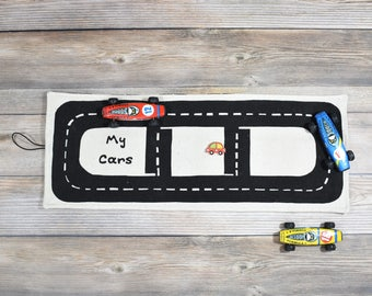 Natural  TOY CAR ROLL, quiet toys, toy car storage, kids gifts, stocking stuffer, kids toys, gifts for boys, travel toys, gifts under 25