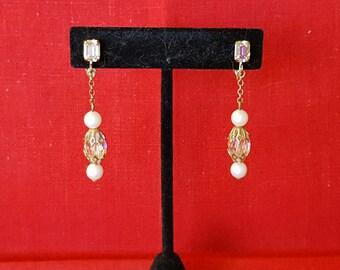 Vintage Crystal and Pearl Dangle Clip Earrings