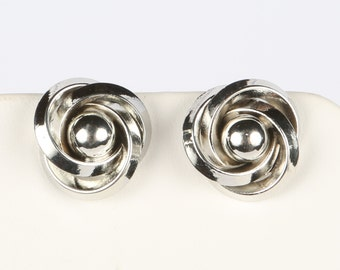 """1960's Silver Tone Knot with Ball Center Screw Back Earrings, Excellent Condition, 3/4"""" Diameter, No Maker Mark."""