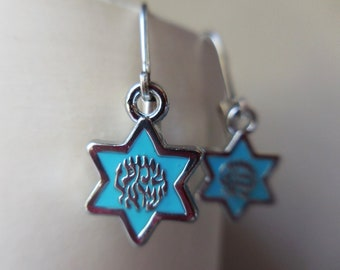 Magen David Earrings with Shema Israel in sky blue silver plated Star of David Hebrew שמע ישראל Rosh Hashanah Hanukkah gift earrings
