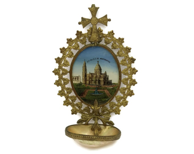 French Antique Holy Water Font. Paris Souvenir of Sacre Coeur in Montmartre. Antique Religious Wall Hanging with Reverse Painting On Glass.