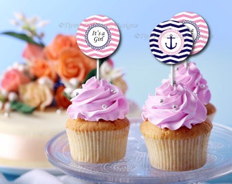 It's A Girl, Cupcake Toppers, Baby Shower, Decor,  Buttons, Tags, Stickers, Nautical, Anchor, Favors, Printable, Instant Download T307A